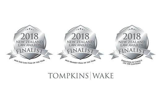 Tompkins Wake triple finalist in the 2018 New Zealand Law Awards