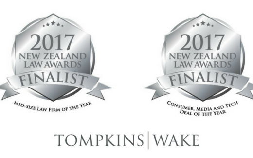 Tompkins Wake double finalist in the 2017 New Zealand Law Awards.